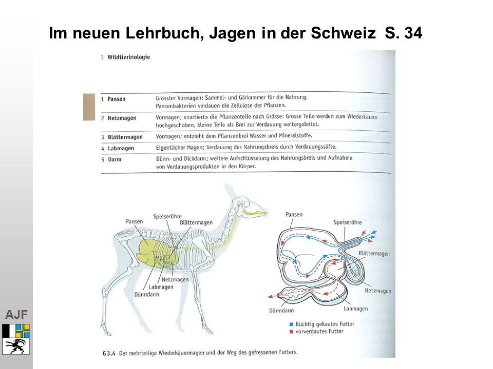 Im neuen Lehrbuch, Jagen in der Schweiz S. 34