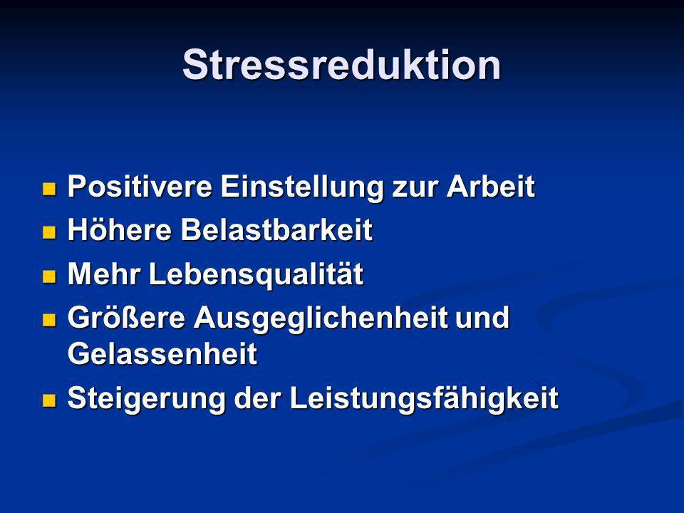 Stressreduktion Positivere Einstellung zur Arbeit Höhere Belastbarkeit