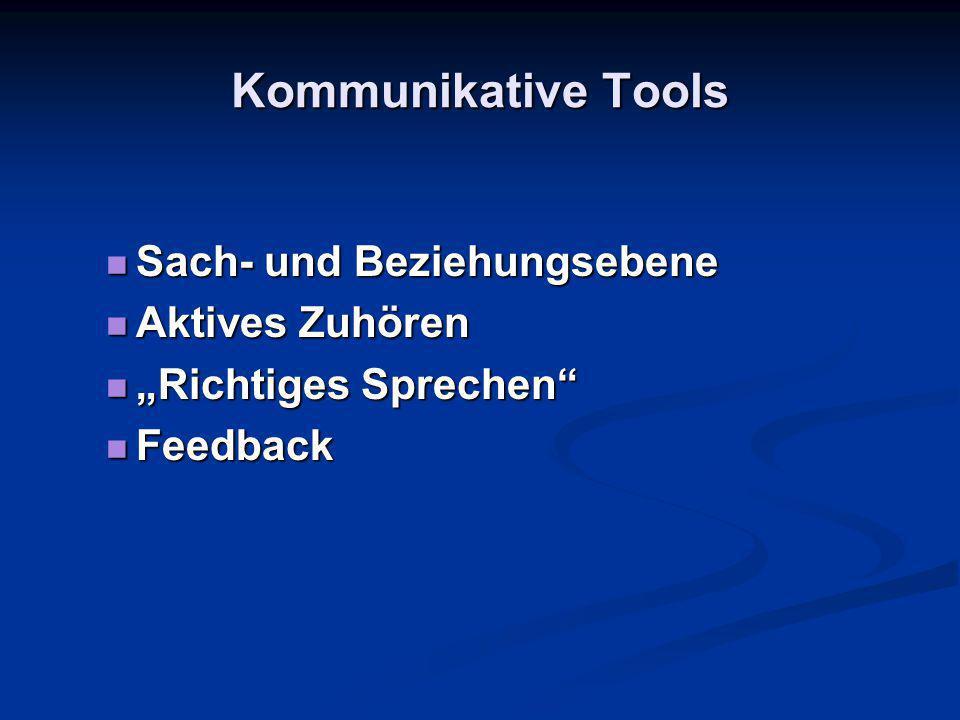 Kommunikative Tools Sach- und Beziehungsebene Aktives Zuhören