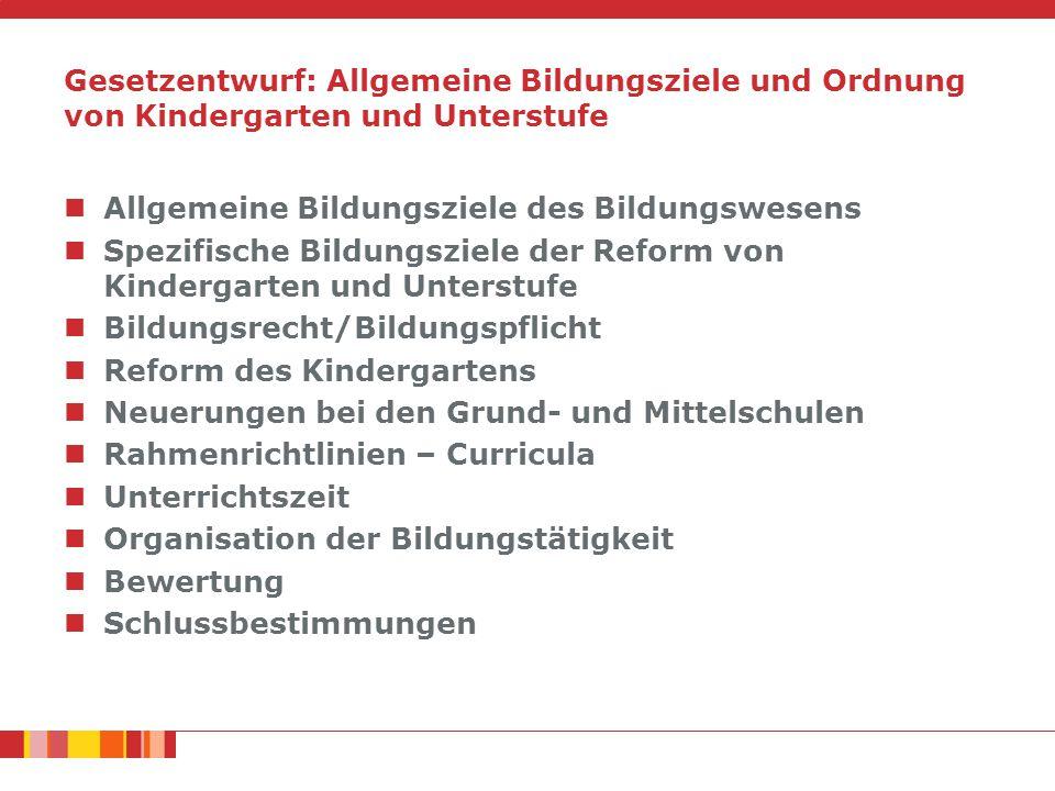 Gesetzentwurf: Allgemeine Bildungsziele und Ordnung von Kindergarten und Unterstufe