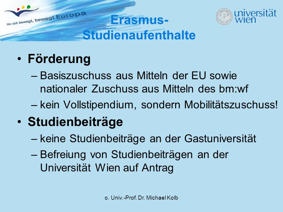 Erasmus-Studienaufenthalte