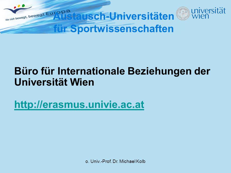 Austausch-Universitäten für Sportwissenschaften