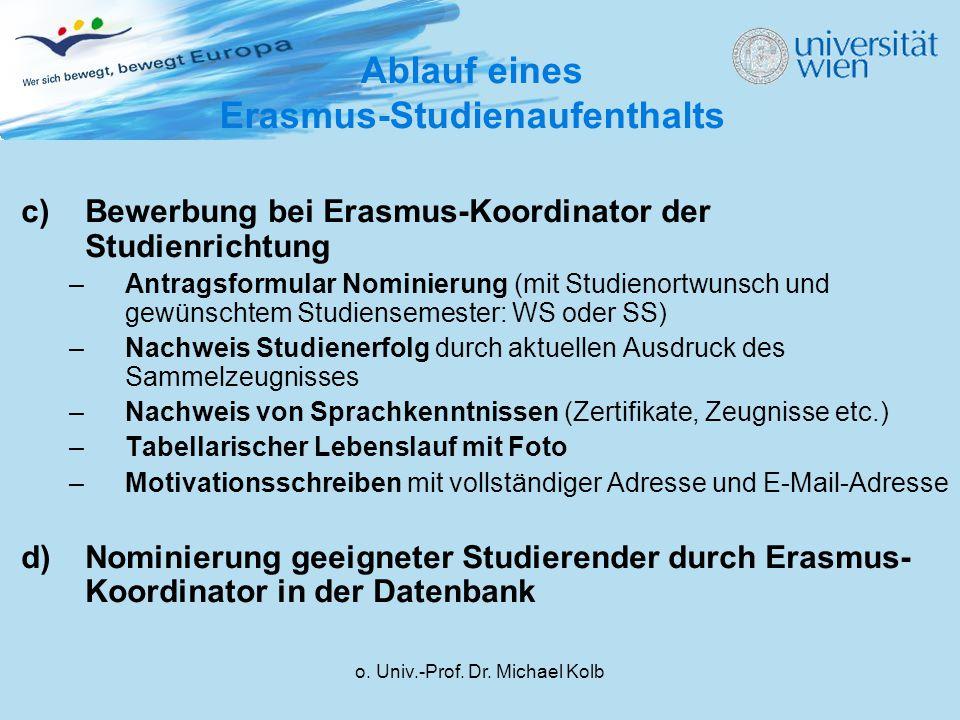 Ablauf eines Erasmus-Studienaufenthalts