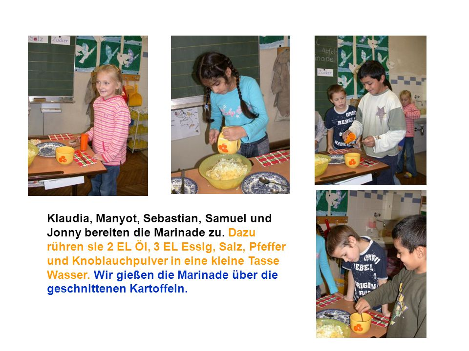 Klaudia, Manyot, Sebastian, Samuel und Jonny bereiten die Marinade zu