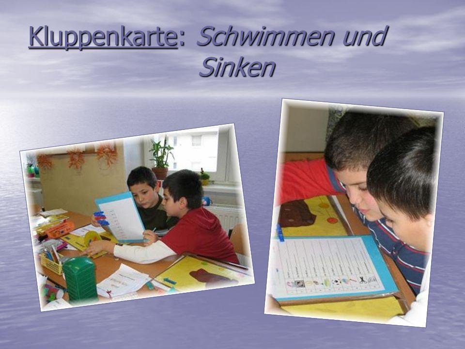 Kluppenkarte: Schwimmen und Sinken