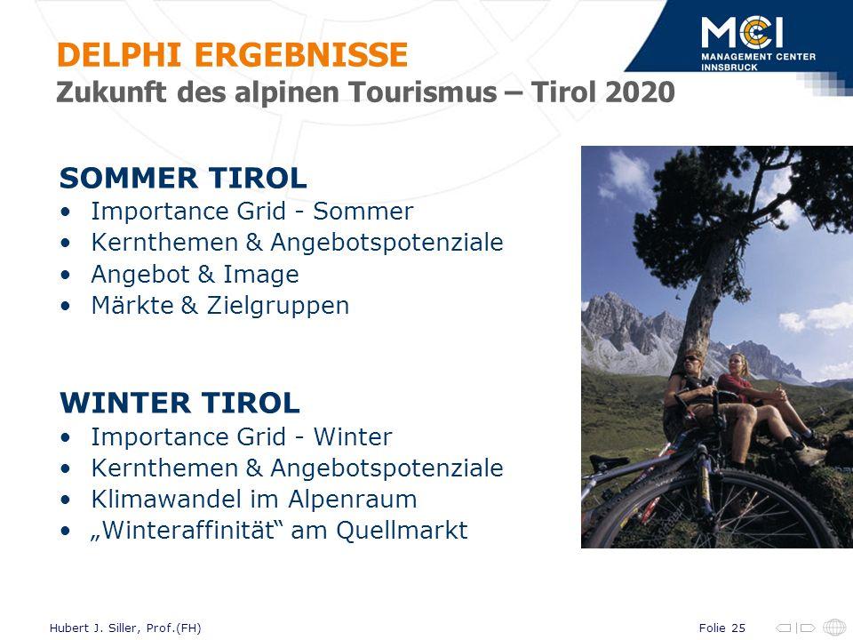 DELPHI ERGEBNISSE Zukunft des alpinen Tourismus – Tirol 2020
