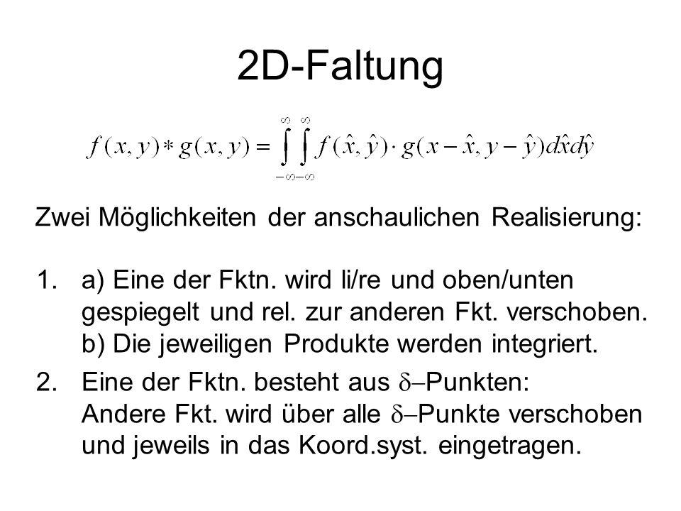 2D-Faltung Zwei Möglichkeiten der anschaulichen Realisierung: