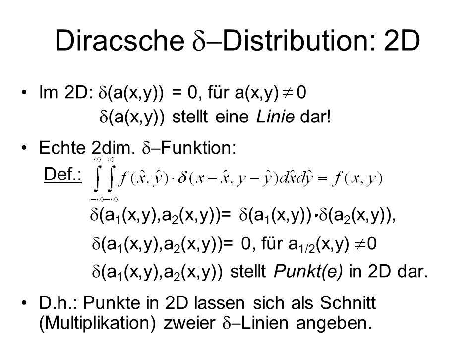Diracsche d-Distribution: 2D