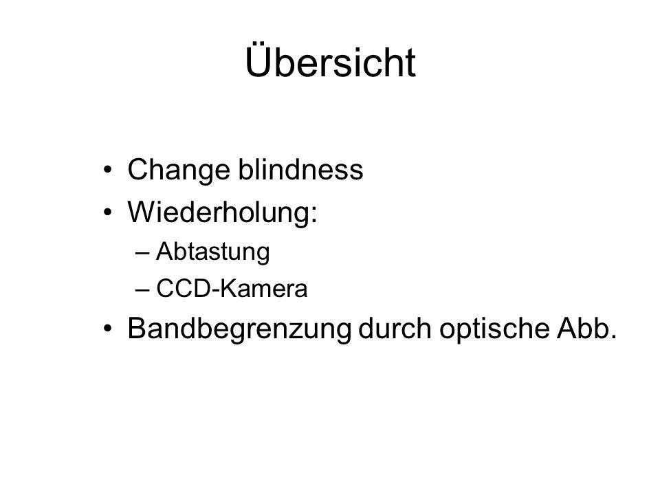 Übersicht Change blindness Wiederholung:
