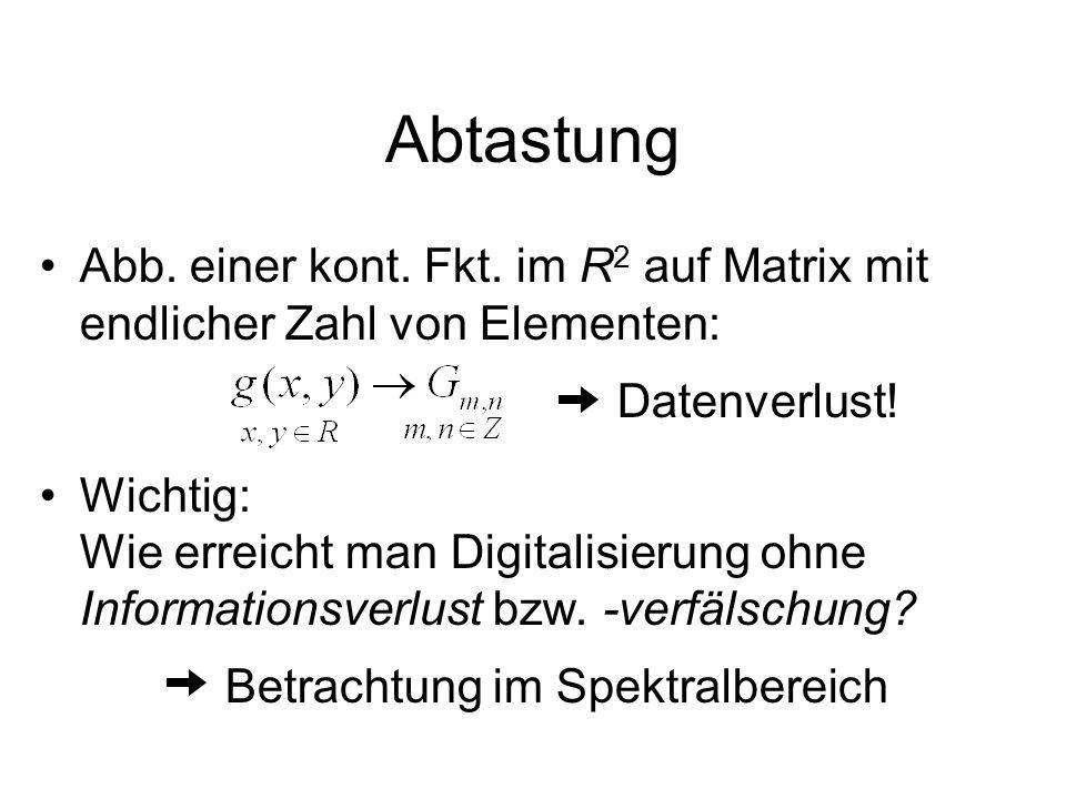Abtastung Abb. einer kont. Fkt. im R2 auf Matrix mit endlicher Zahl von Elementen: Datenverlust!