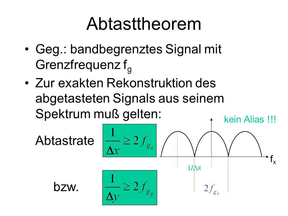 Abtasttheorem Geg.: bandbegrenztes Signal mit Grenzfrequenz fg