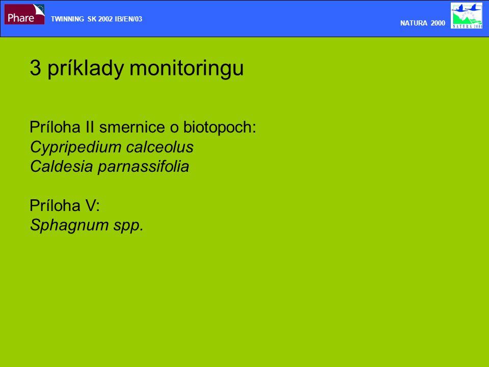 3 príklady monitoringu Príloha II smernice o biotopoch: