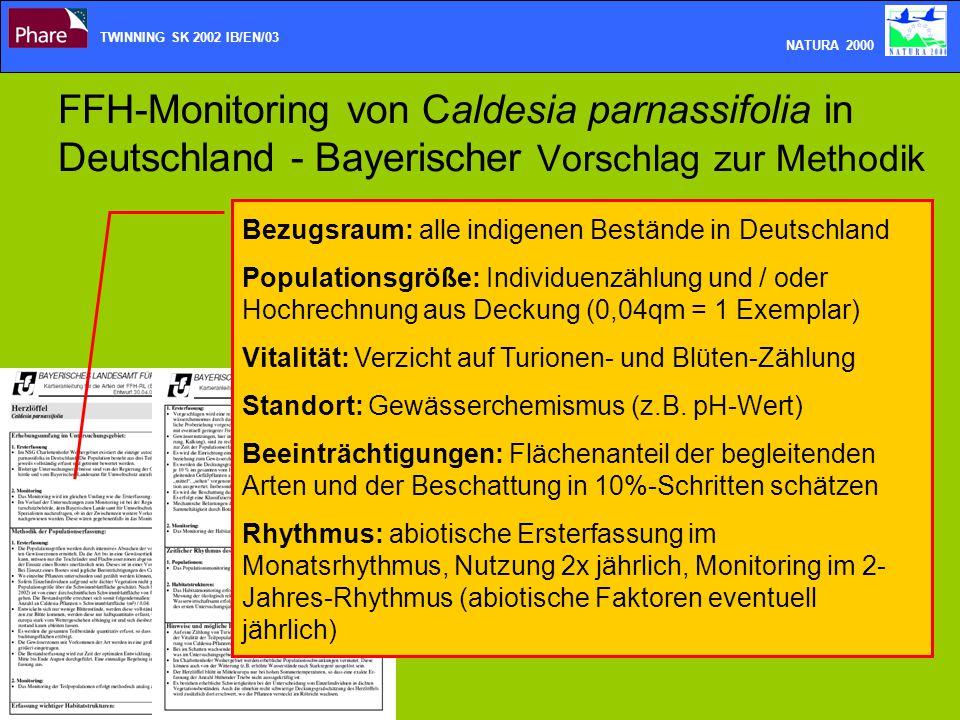 TWINNING SK 2002 IB/EN/03 NATURA 2000. FFH-Monitoring von Caldesia parnassifolia in Deutschland - Bayerischer Vorschlag zur Methodik.