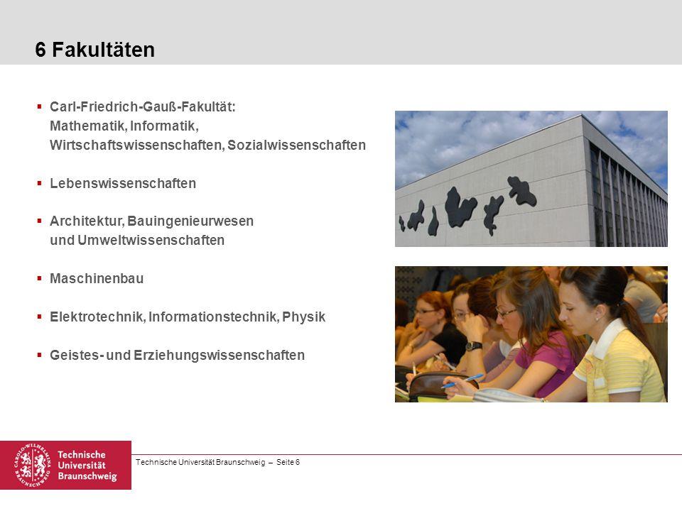 6 Fakultäten Carl-Friedrich-Gauß-Fakultät: Mathematik, Informatik, Wirtschaftswissenschaften, Sozialwissenschaften.