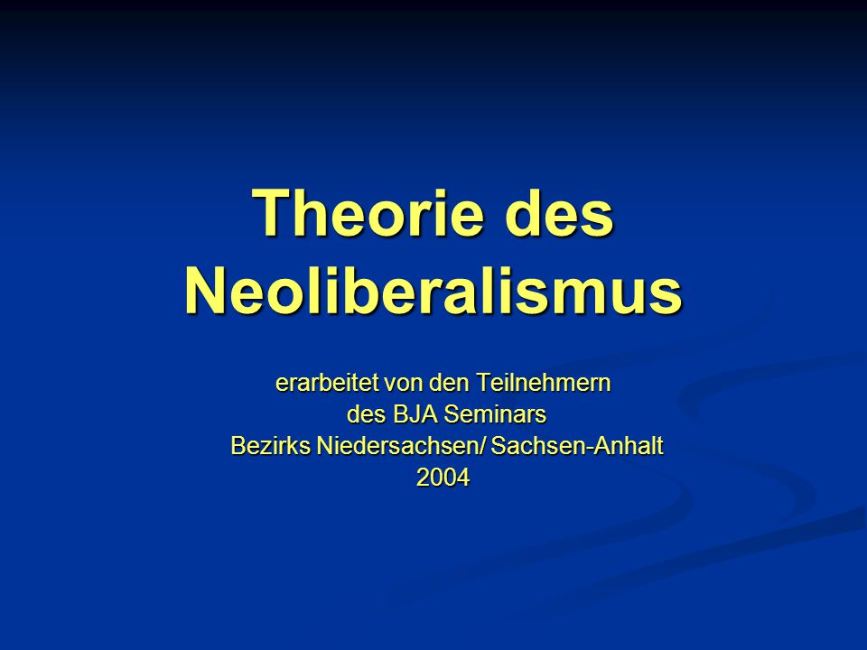 Theorie des Neoliberalismus