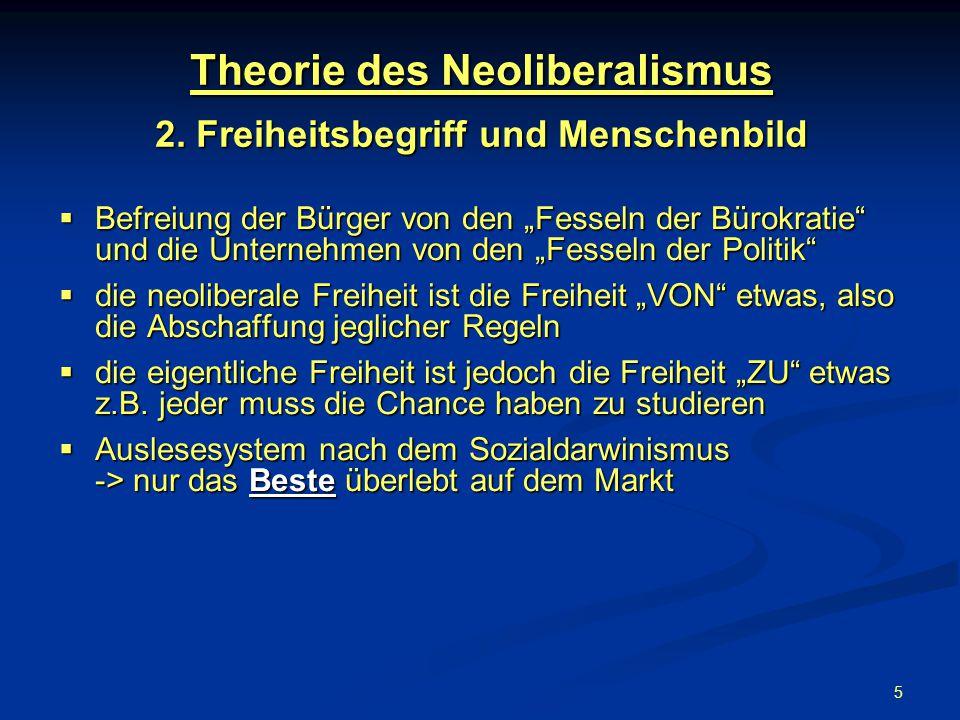 Theorie des Neoliberalismus 2. Freiheitsbegriff und Menschenbild