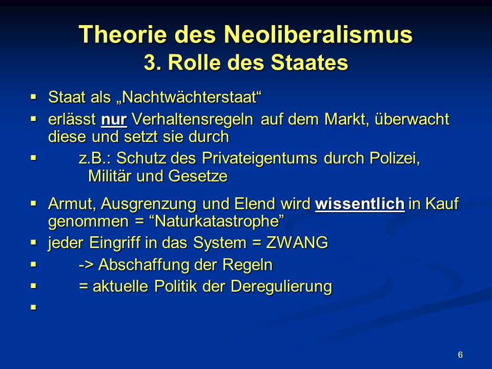 Theorie des Neoliberalismus 3. Rolle des Staates