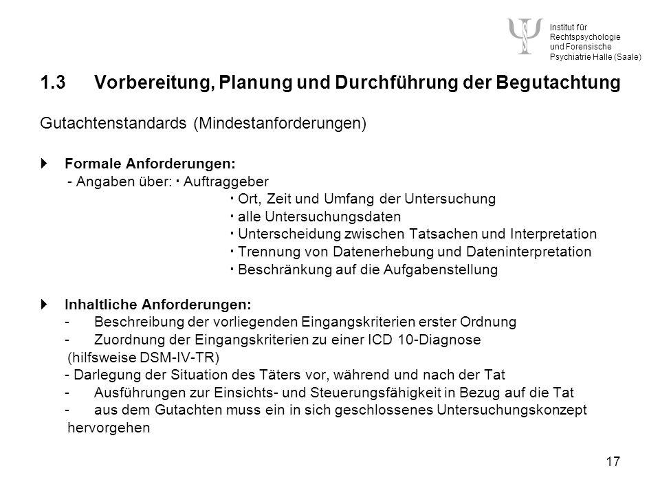 1.3 Vorbereitung, Planung und Durchführung der Begutachtung