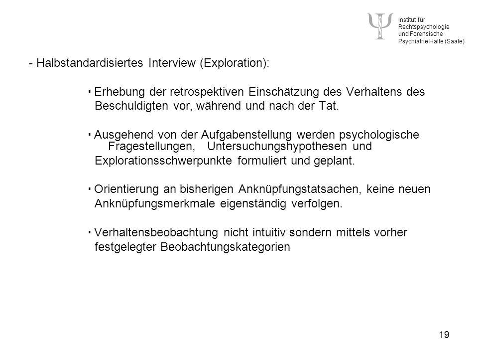 - Halbstandardisiertes Interview (Exploration):