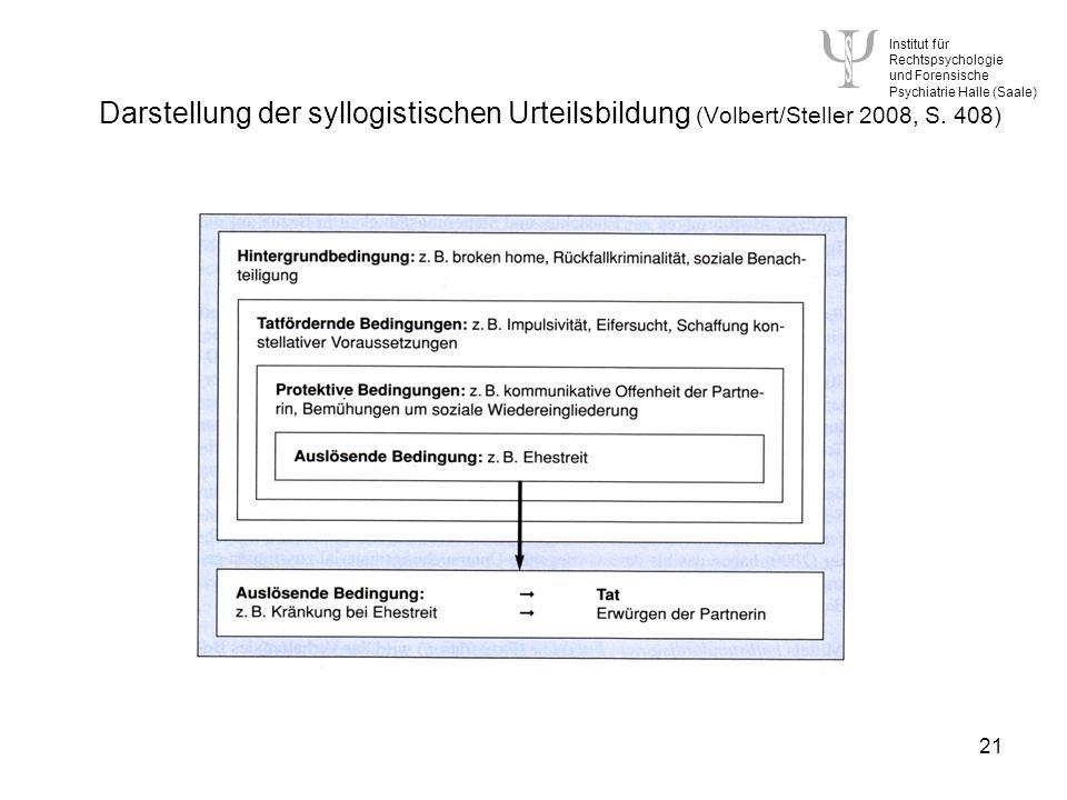 Darstellung der syllogistischen Urteilsbildung (Volbert/Steller 2008, S. 408)