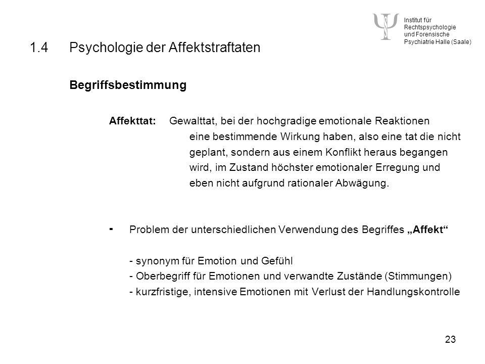 1.4 Psychologie der Affektstraftaten