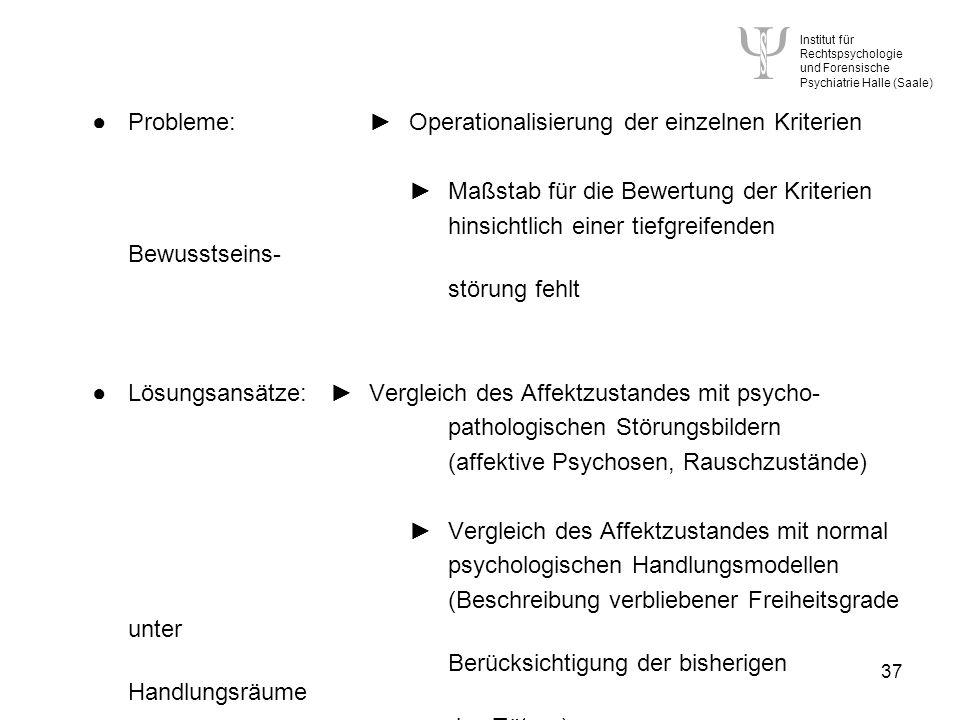 ● Probleme: ► Operationalisierung der einzelnen Kriterien