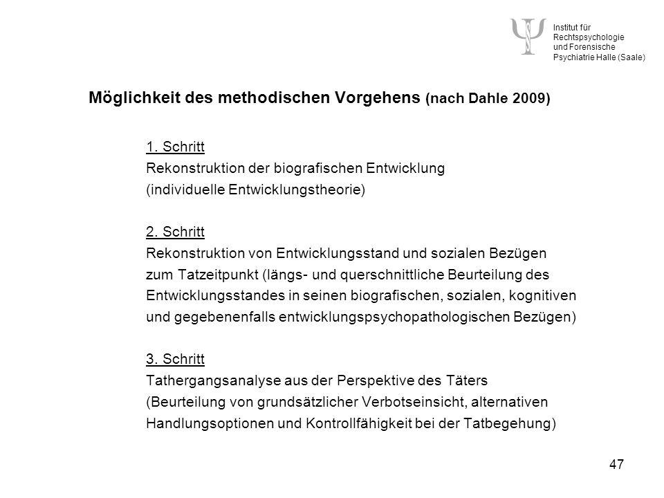 Möglichkeit des methodischen Vorgehens (nach Dahle 2009) 1. Schritt