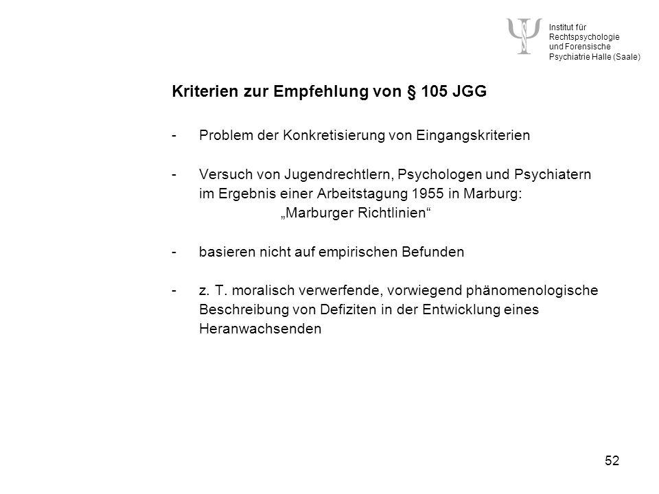 Kriterien zur Empfehlung von § 105 JGG