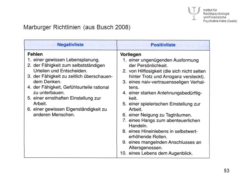 Marburger Richtlinien (aus Busch 2008)