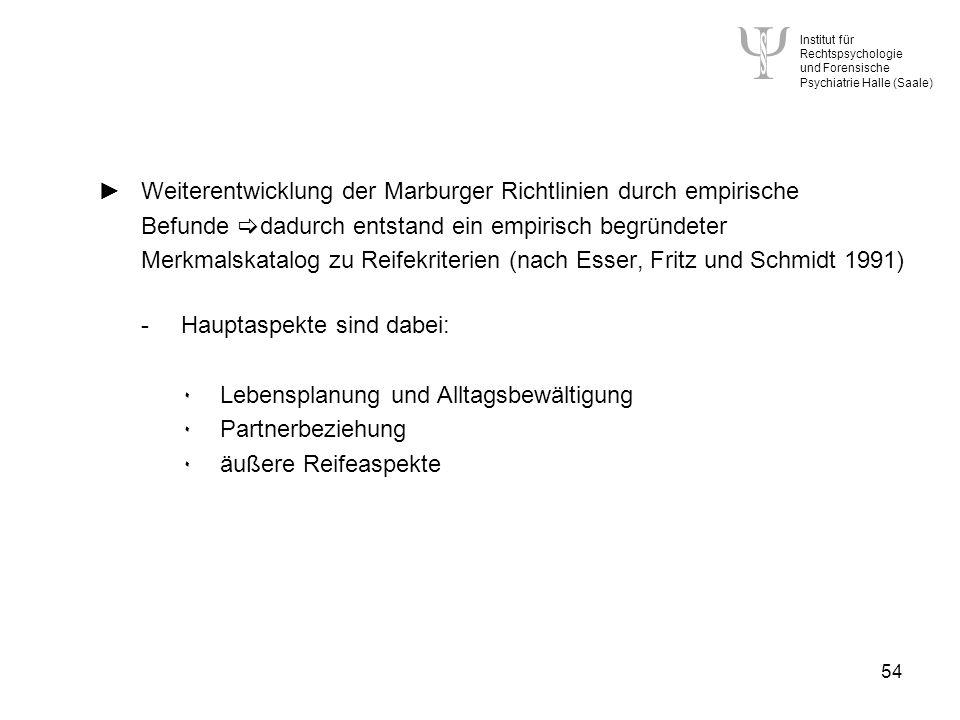 ► Weiterentwicklung der Marburger Richtlinien durch empirische