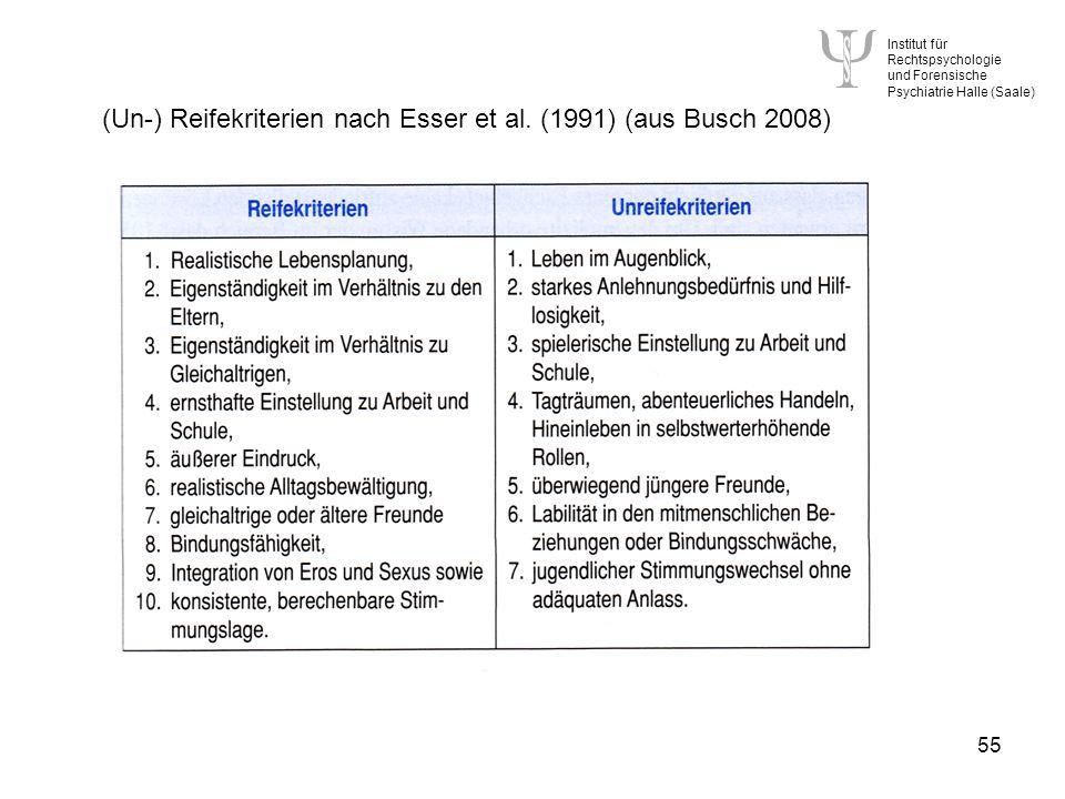 (Un-) Reifekriterien nach Esser et al. (1991) (aus Busch 2008)
