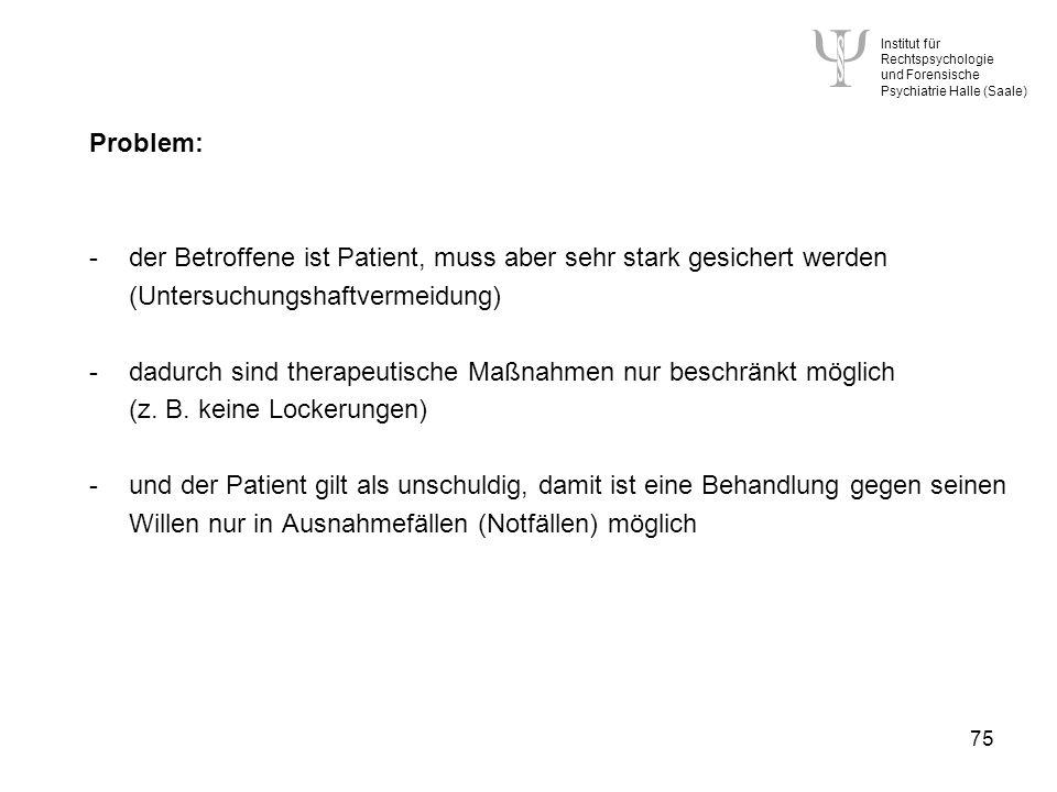 der Betroffene ist Patient, muss aber sehr stark gesichert werden