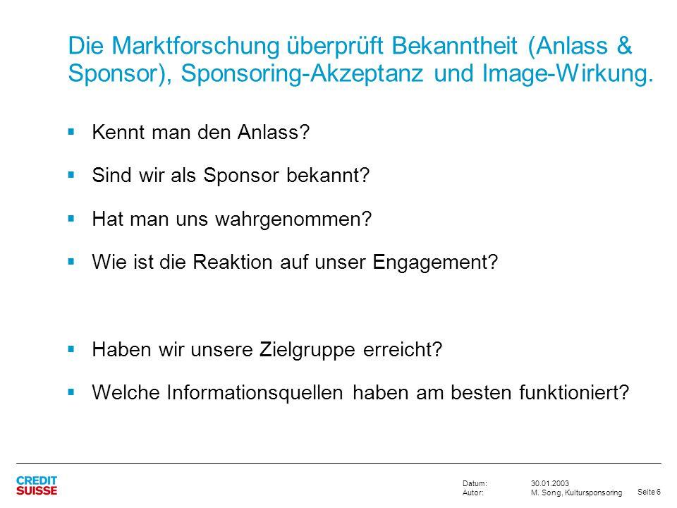 Die Marktforschung überprüft Bekanntheit (Anlass & Sponsor), Sponsoring-Akzeptanz und Image-Wirkung.