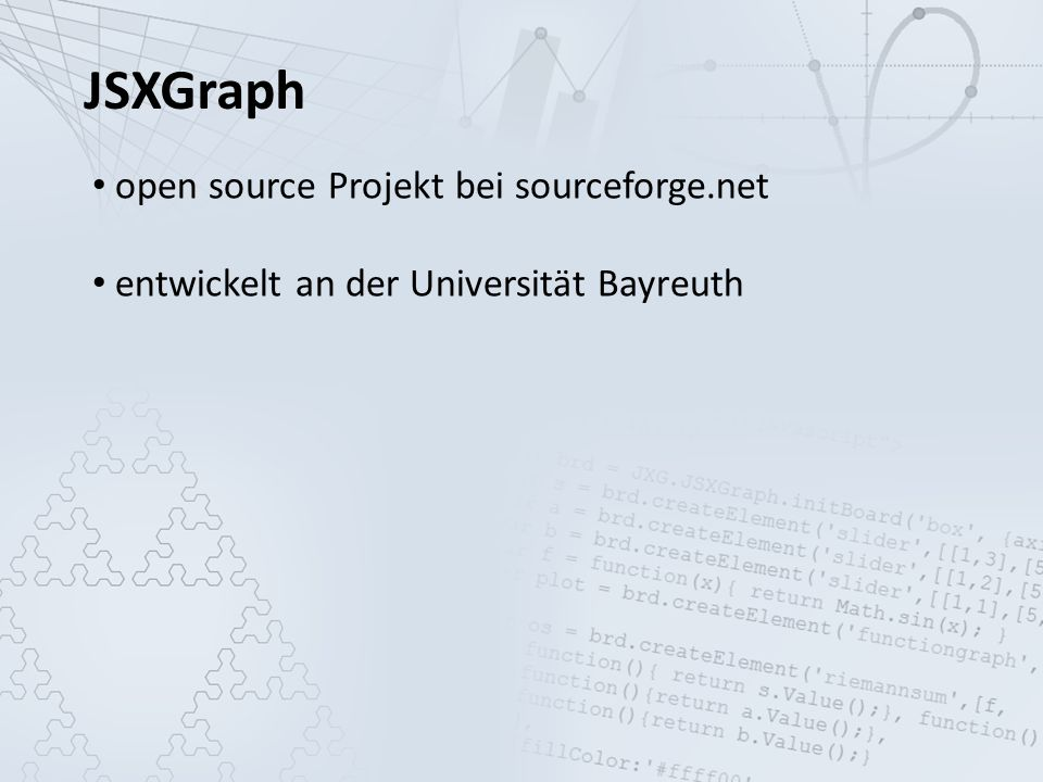 JSXGraph open source Projekt bei sourceforge.net