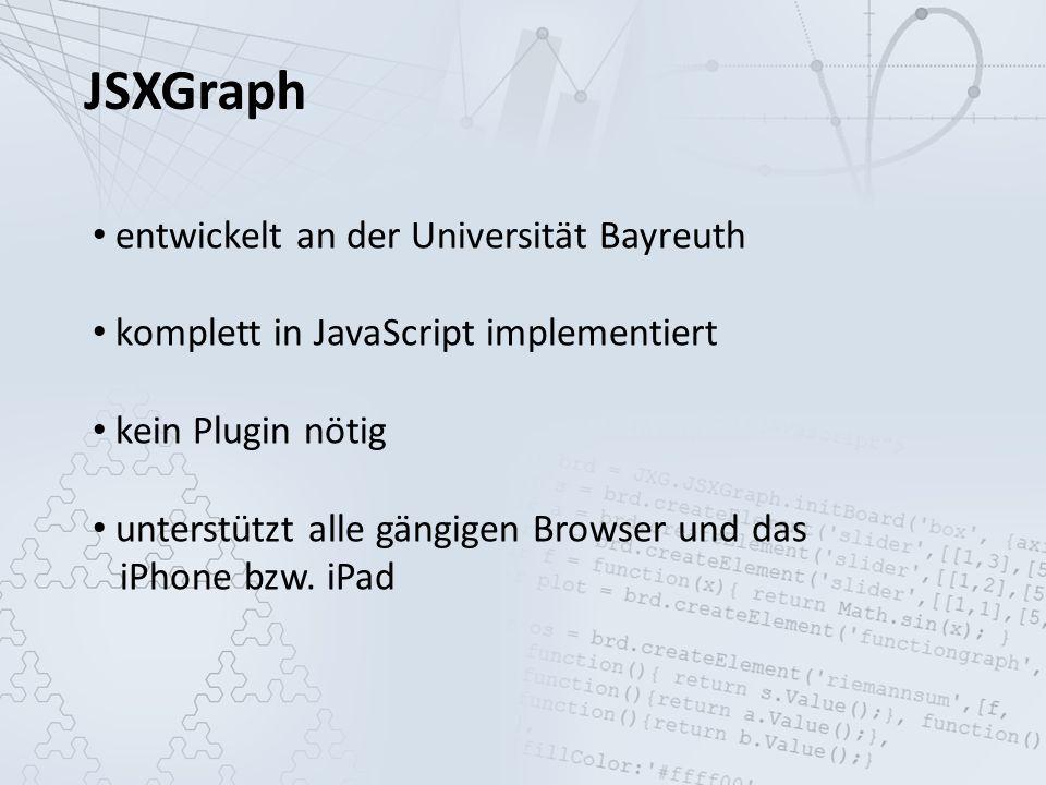 JSXGraph entwickelt an der Universität Bayreuth