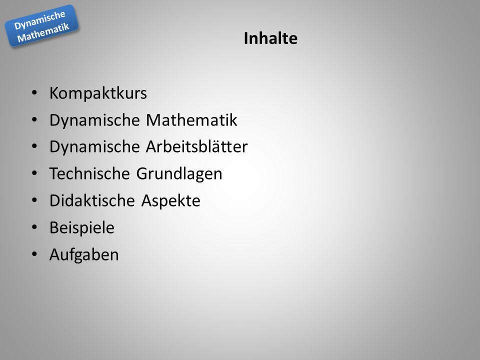 Inhalte Kompaktkurs. Dynamische Mathematik. Dynamische Arbeitsblätter. Technische Grundlagen. Didaktische Aspekte.