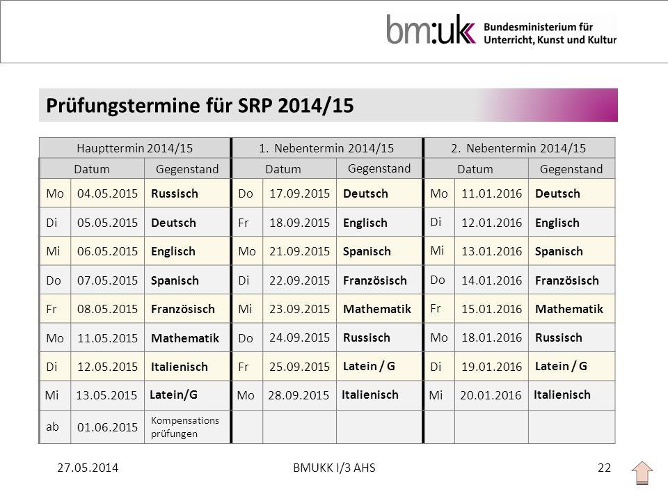 Prüfungstermine für SRP 2014/15