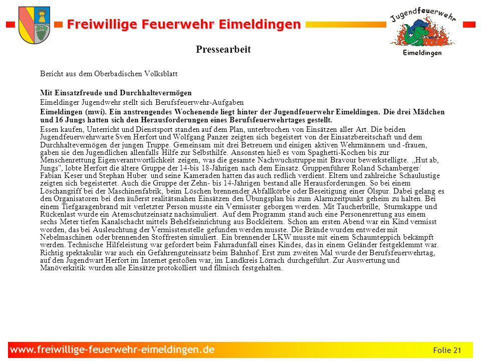 Pressearbeit Bericht aus dem Oberbadischen Volksblatt