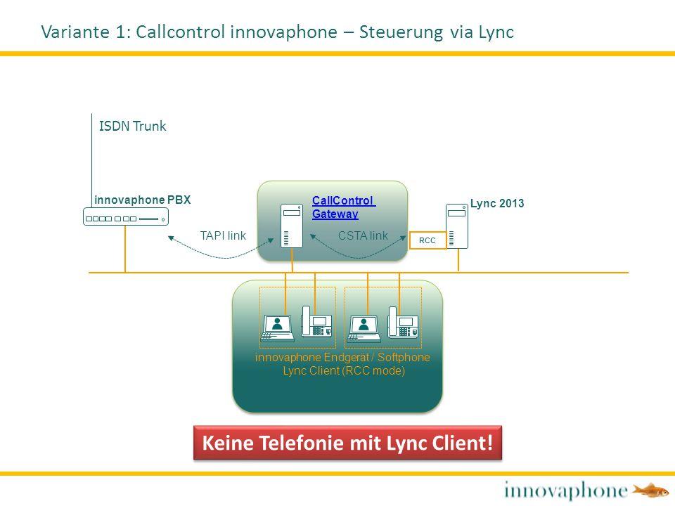 Variante 1: Callcontrol innovaphone – Steuerung via Lync