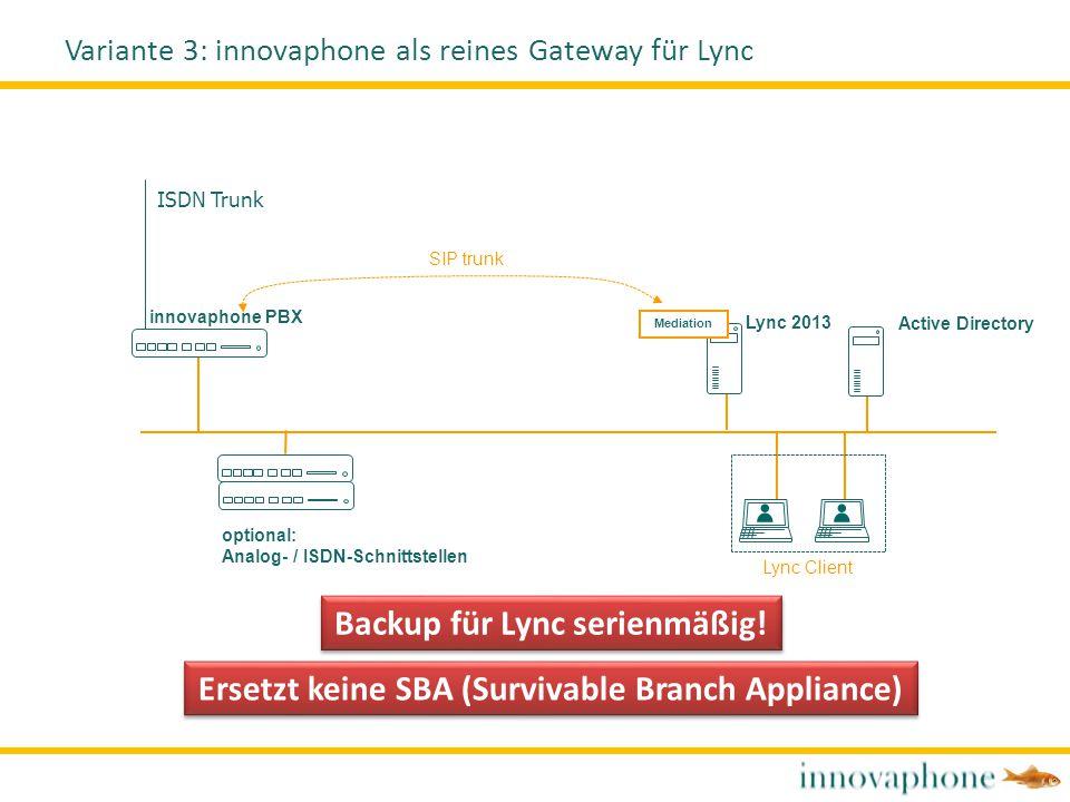Variante 3: innovaphone als reines Gateway für Lync