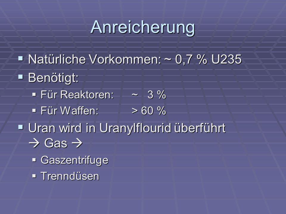 Anreicherung Natürliche Vorkommen: ~ 0,7 % U235 Benötigt: