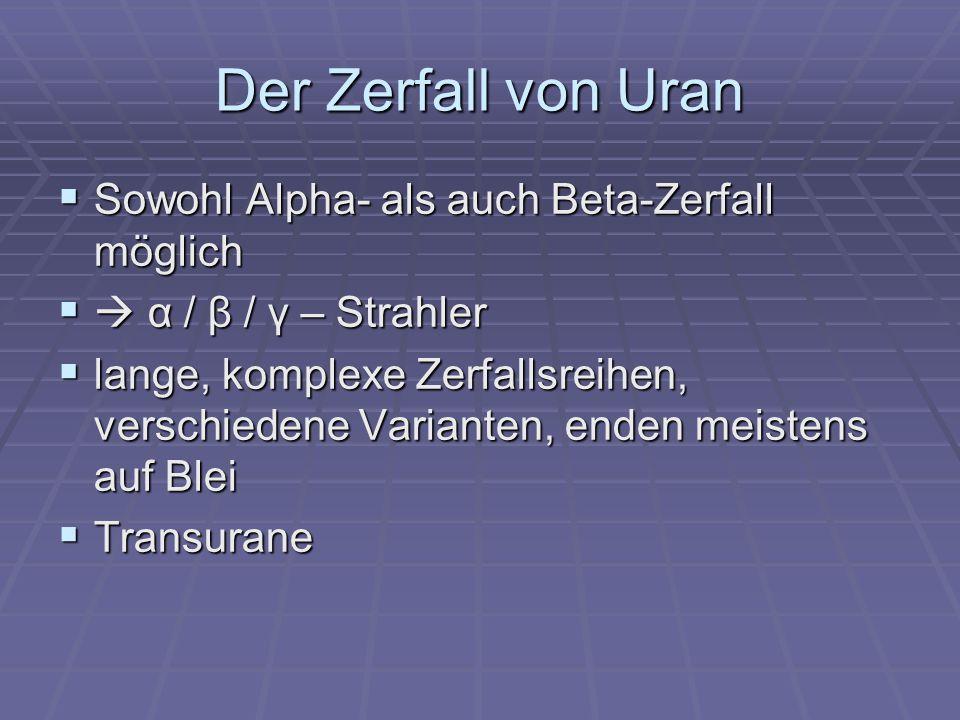 Der Zerfall von Uran Sowohl Alpha- als auch Beta-Zerfall möglich