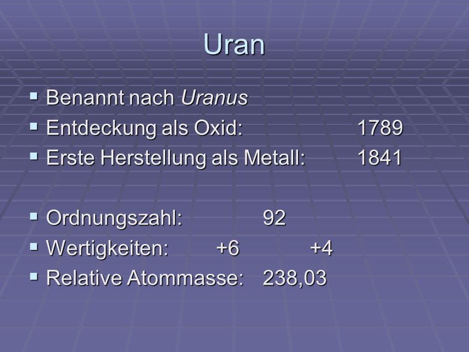 Uran Benannt nach Uranus Entdeckung als Oxid: 1789
