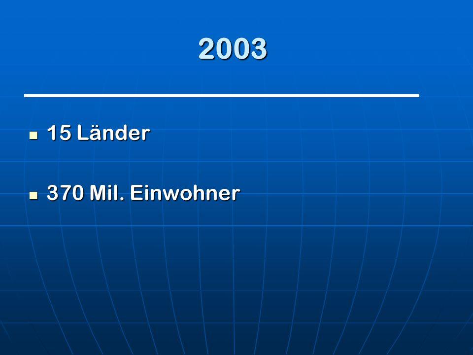 2003 15 Länder 370 Mil. Einwohner