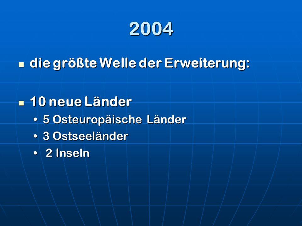 2004 die größte Welle der Erweiterung: 10 neue Länder