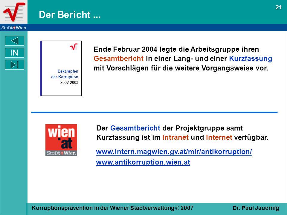 21 Der Bericht ... Bekämpfen. der Korruption. 2002-2003.