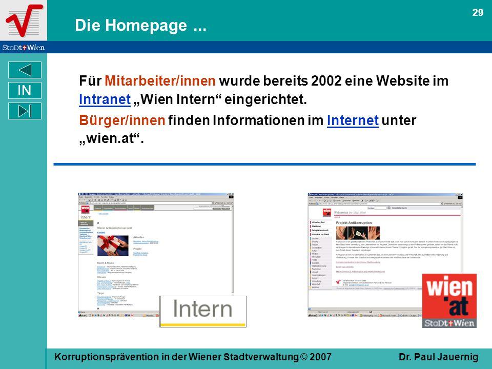 """29 Die Homepage ... Für Mitarbeiter/innen wurde bereits 2002 eine Website im Intranet """"Wien Intern eingerichtet."""