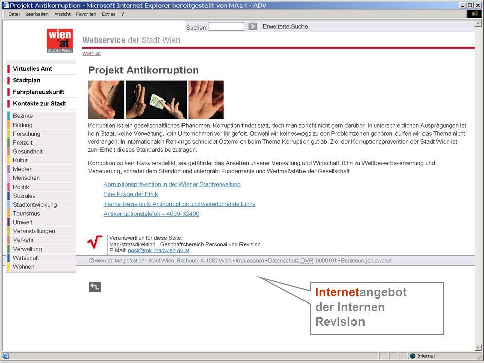 31 Die Homepage - extern Internetangebot der Internen Revision