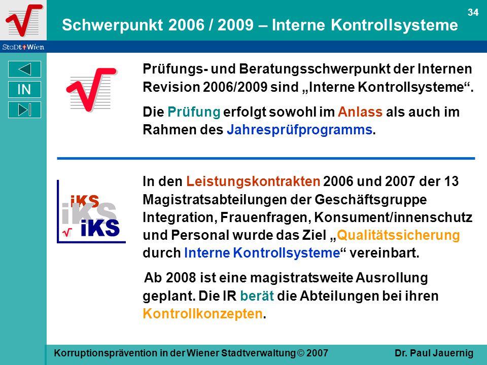 Schwerpunkt 2006 / 2009 – Interne Kontrollsysteme