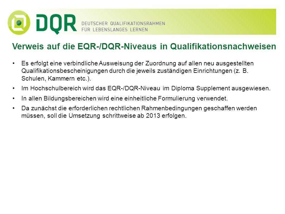 Verweis auf die EQR-/DQR-Niveaus in Qualifikationsnachweisen